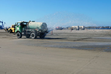 It is also necessary to water the ground after applying and milling the cement.